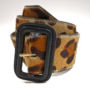TALBOTS Calf Hair Leopard Print Leather Belt Sz M